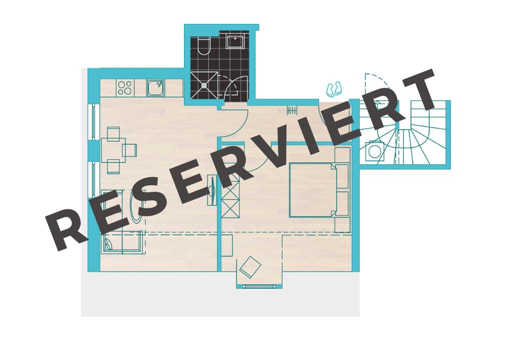Grundriss: Unser Appartement 11 mit dem schönen Namen MEERbucht bietet Ihnen viele Gestaltungsmöglichkeiten.